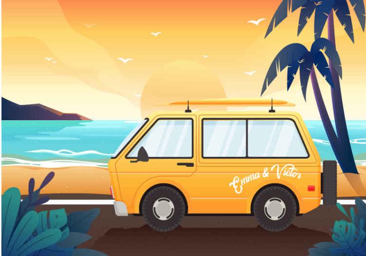 TenStickers. Počitniške prikolice ob morju. Oglejte si to kul stensko poslikavo za otroke, ki ponazarja poletno plažo z visokimi palmami in rumeno prikolico! Na voljo dostava na dom.