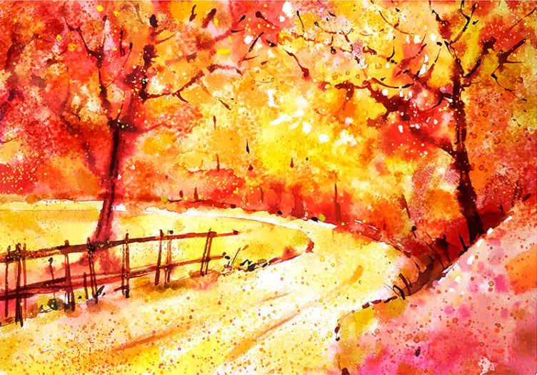 TenStickers. Fototapeta akvarel krajiny městské umění. Podívejte se na tuto nástěnnou fototapetu podzimní krajiny! Krásné oranžové barvy a podzimní park. Snadno se čistí a má dlouhodobý účinek.