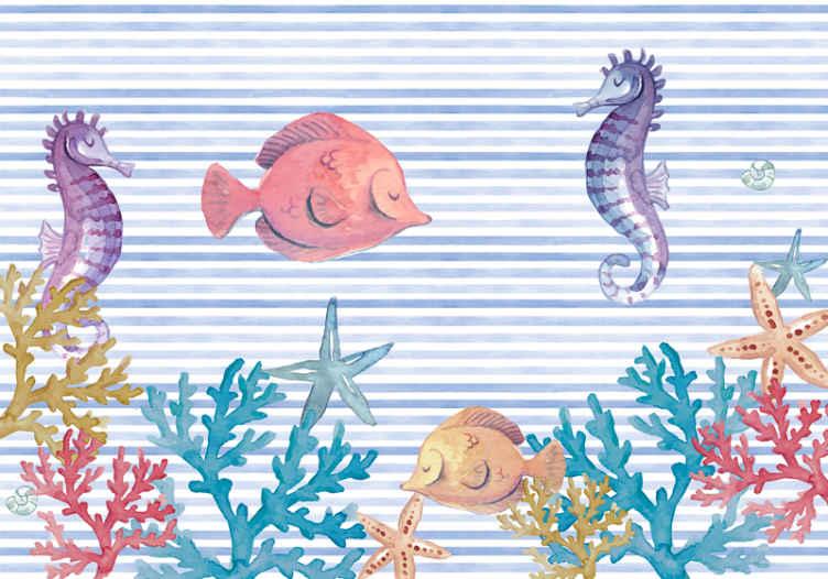 TenStickers. Zidni zid morski život djeca spavaća soba. Prekrasna ilustracija morskog života pod morem s morskim konjima, ribom, travom i pijeskom, u nježnim pastelnim bojama na dječjem zidnom zidu!