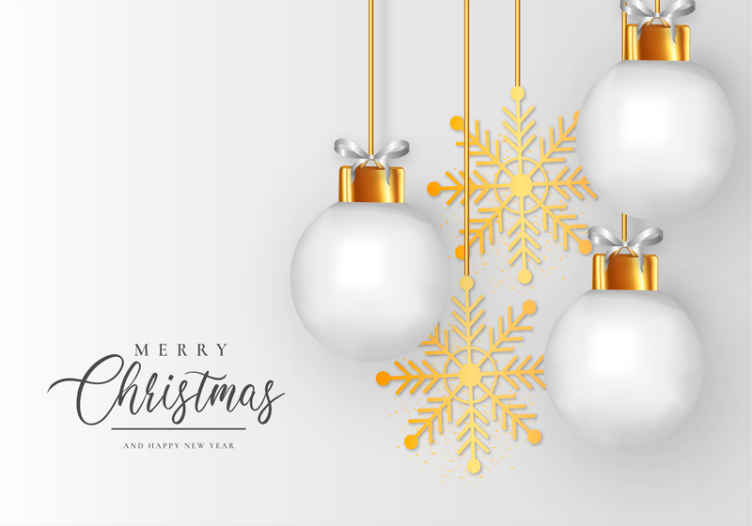 Tenstickers. Závesné vianočné ozdoby zimná krajina zázrakov fototapeta. Vianočná nástenná maľba s pozadím v bielom prevedení, ktoré interpretuje snehové obdobie, potom s ilustráciou zlatých snehových vločiek a veľkými závesnými žiarovkami.