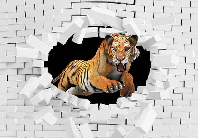 TenStickers. Fotomurais 3D Tigre. Imagine a quantidade de atração e atenção que esse tigre quebrando um fotomural vinílico de uma parede de tijolos instalaria em seu espaço.