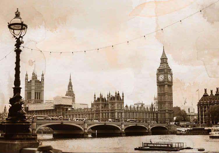 Tenstickers. Big ben sépia london skyline nástenná maľba. Nástenná maľba v londýne, ktorá ponúka ohromujúci obraz big benu a budov parlamentu vedľa rieky temža. Extrémne trvanlivý materiál.
