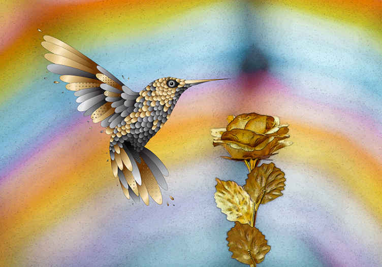 TenStickers. Kolibříci a zlaté květiny moderní nástěnné tapety. Přineste do svého domova přírodu s těmito fantasticky navrženými kolibříky a zlatými květinami s texturou fototapeta koupit online, s doručením do domu!