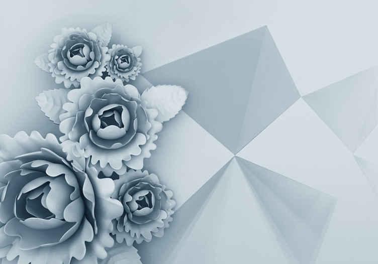 TenStickers. Geometrické 3d květinové fototapeta 3d nástěnná tapeta. Květinová fototapeta s ilustrací modrých květů s geometrickými tvary ideální pro výzdobu stěn vašeho obývacího pokoje, ložnice atd.