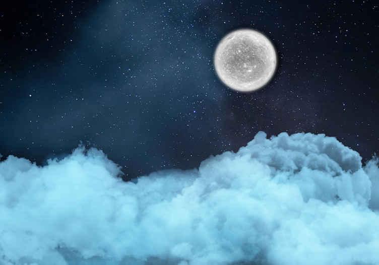 TenStickers. Oblaki v zvezdni noči abstraktni freski. Oblaki v zvezdanih nočnih abstraktnih stenskih poslikavah - predstavljate si lahko, koliko lepote in miru bi ta velika stenska stena namestila na vaš prostor.