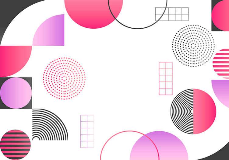 TenStickers. Krogi barv abstraktna fototapeta. če želite na prostoru predstaviti barvito vzdušje, je treba razmisliti o tej veliki geometrijski pisani stenski freski.