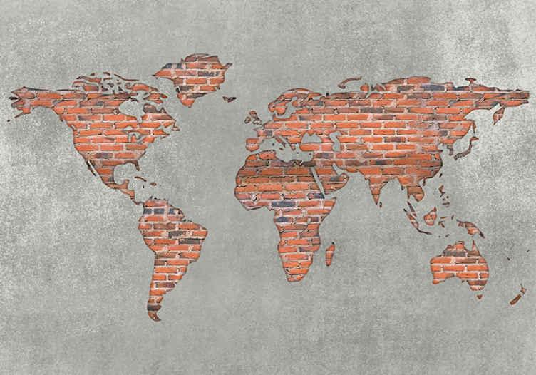TenStickers. Efekt cigle živopisna karta svijeta 3d zidna tapeta. Efekt cigle živopisna karta svijeta 3d zidni zid - kakav nevjerojatan dizajn za preobrazbu i obnovu bilo kojeg prostora. Proizvedeno kvalitetnim materijalom.