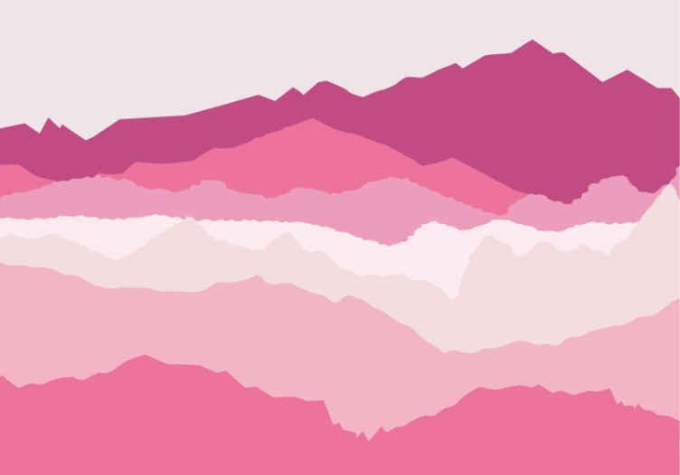 TenStickers. Ružičaste planine planinski freska. Umirujući ružičasti pejzažni zidni planinski planin za dječju spavaću sobu. Fotografska slika krajolika slatka je i zabavna za sve najmlađe.