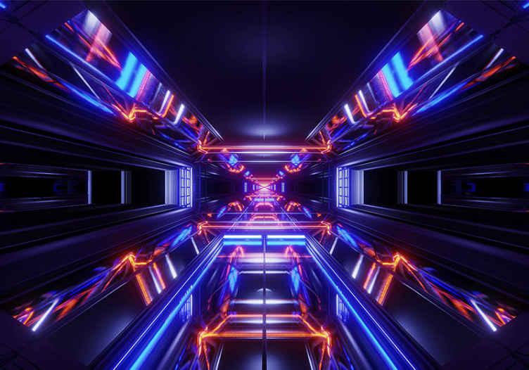 TenStickers. Fototapeta 3d tunel galaxie 3d nástěnná tapeta. Velmi zářivá a úžasná velká fototapeta ideální pro zdobení vašeho oblíbeného místa! Donáška domů! Koupit online! Vytištěno na matných barvách!