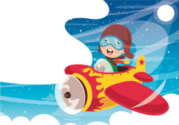 TenStickers. Kreslení s letci dětské fototapety. Jaká fantastická nástěnná malba pro chlapce s ilustrativním designem chlapce létajícího raketovou lodí ve vesmíru. Jeho instalace je snadná a kvalitní.