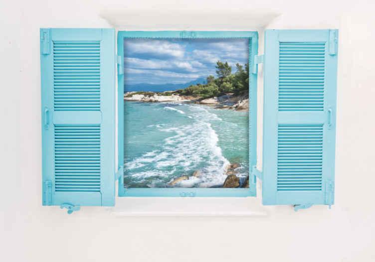 TenStickers. Okno s výhledem na moře pod mořem fototapeta. S takovým oknem s výhledem na moře pod mořskou nástěnnou malbou, které si můžete koupit online, je snadné se dostat pryč z domova v srdci pláže. Koupit!