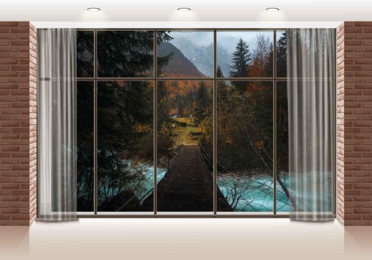 TenStickers. Okno s pogledom na gozd drevesna stenska stena. Več kot le dekorativni učinek, ta drevesna fotografija za tapeta ustvarja globino in perspektivo vaše sobe. Opravite nakup!