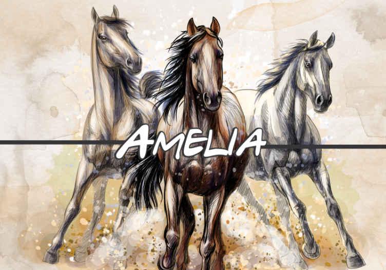 TenStickers. Tri ilustrirana zidna tapeta za konje. Zidna fotografija s tri ilustrirana konja na konjičku temu otisnutom s prekrasnom umjetničkom slikom umjetničkog dizajna konja. Provjerena kvaliteta.