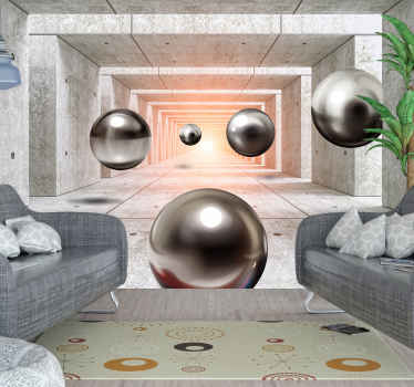 Futuristic Tunnel 3D Mural Wallpaper