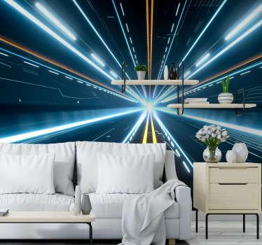 Futuristic Hallway 3D Mural Wallpaper
