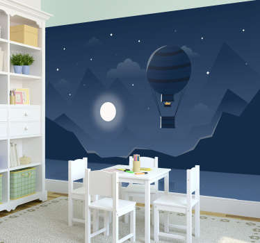 Hot Air Balloon 3D Wall Mural