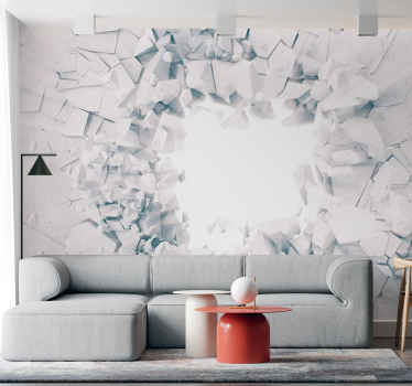 Smashed effect 3D wall mural