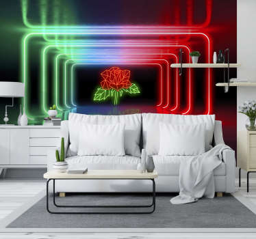 Neon Rose 3D Mural Wallpaper