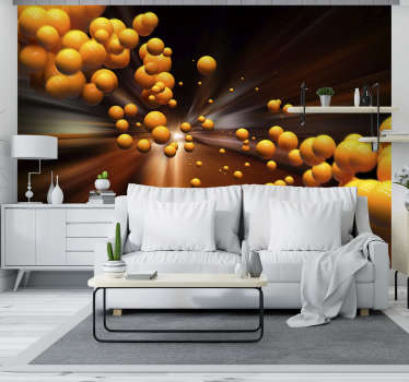 Fotomural de esferas viajando por un tunel. Quedará estupendo y te encantará, un toque abstracto, moderno y personal en tus paredes del hogar.