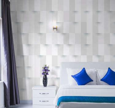 Dai vita al tuo soggiorno grazie a questo fantastico fotomurale 3d, che rappresenta cubi geometrici che si alternano e fuoriescono dal muro