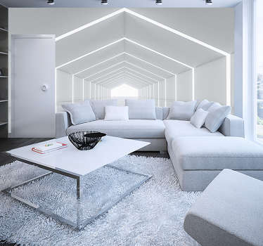 White tunnel 3D Mural Wallpaper