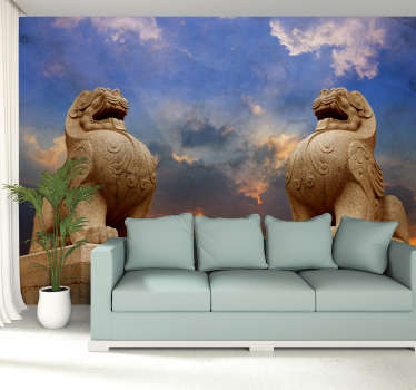 Two lions standing proud upon their rocks, decorate with this oriental wall mural. Inspired by lions across Asia, this design will liven up your walls