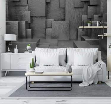 방에 피는 입방체의 놀라운 광경은 3d 시각 효과로 공간에 깊이를 부여하고 벽에 색을 칠하지 않습니다.