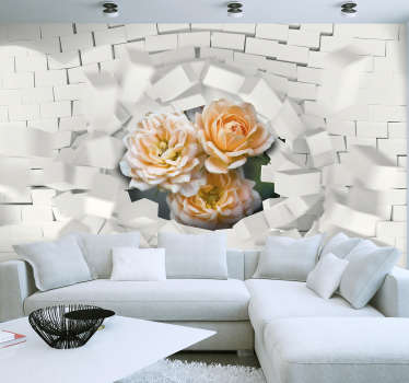 3D photomural of flowers with superimposed extrusions of white squares or rectangles and flowers that stand out. Best quality.