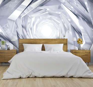 White 3D Mural Wallpaper