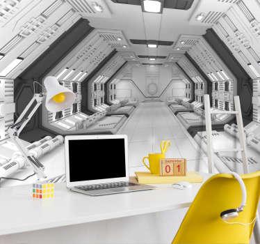 Fotomural 3D que dará la sensación de profundidad y amplitud a tu espacio con este diseño que simula un espacio abierto y sin techo en el que entra luz solar.