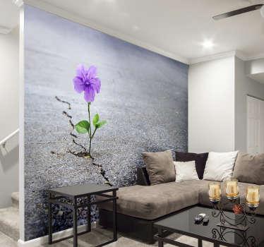 Fotomural 3D abstracto con flores para decorar las paredes de tu hogar de un modo exclusivo y tener un ambiente original.