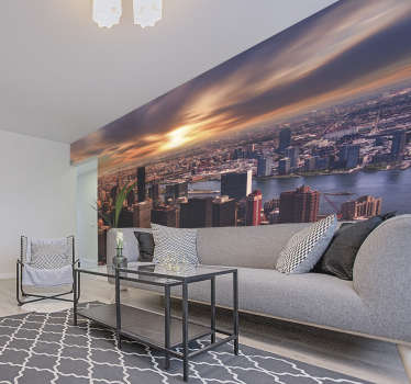 Wake up to the stunning sun rise over New York city with this New York wall mural! The perfect addition to any home. High definition images