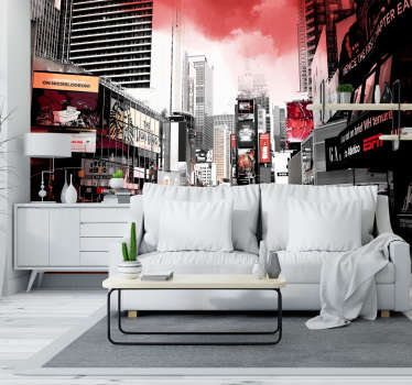 New York photo mural white and red, a beautiful color combination that creates a special design of the city that never sleeps.