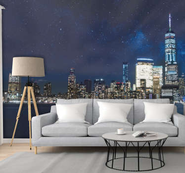 Oh how I wish for more nights like this A perfectly clear, starry night over New York city This is the most stunning New York wall mural!
