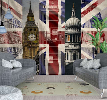 If you're looking to add something a little bit British to your walls then what could be more perfect than this London wall mural?