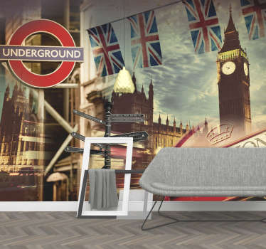 Show your love for the exciting city of London with this London wall mural. Depicting a variety of symbols related to the great city.