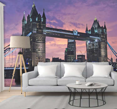 There's nothing more beautiful than sunset over London, that's why we're providing you with this amazing Tower Bridge wall mural. Worldwide delivery!