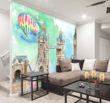 This London wall mural is just the thing you've been searching for! Splashes of colours decorate the white space, making it more colourful and unique