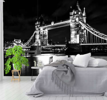 Great photo mural of London's Tower Bridge in vintage photographic style to bring a little piece of London city into your home.