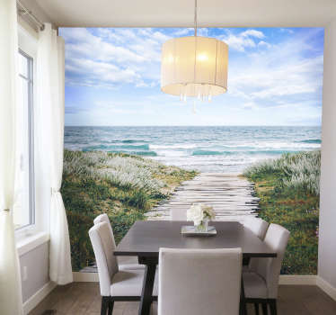 Beautiful and relaxing photomural of a wooden walkway to the sea An exclusive image that can now be part of the walls of your home in an exclusive way