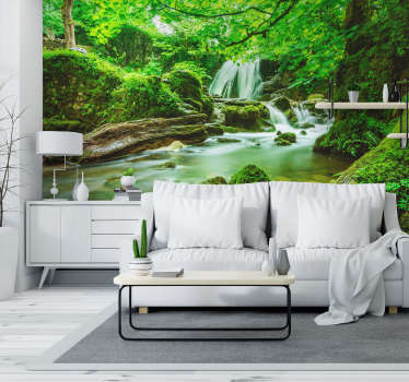 Beautiful and colorful photomural of a jungle landscape full of nature and water. An ideal product to decorate any wall in your home.