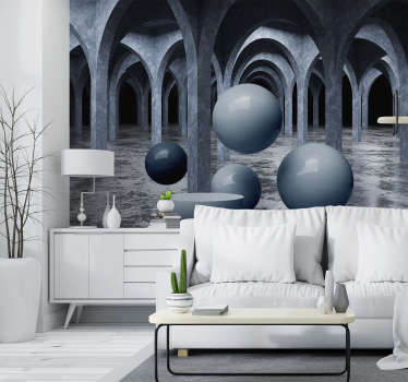 A modern and complex 3D wall mural for your home. Depicting mysterious balls floating through a room of arches, who knows their destination?