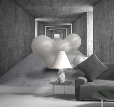 Balloons floating through tunnel 3D Mural Wallpaper