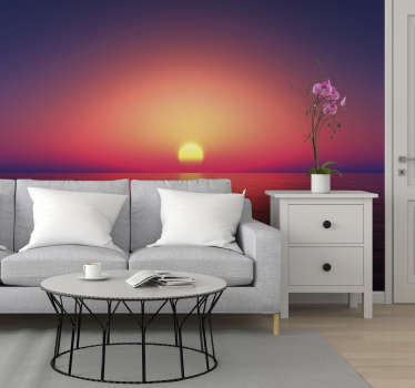 What could be more beautiful than this sea wall mural? With the sun setting over the sea on the horizon, this design will fit into any room seamlessly