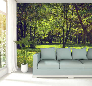 Beautiful trees, stunning green grass, who wouldn't want to spend time in this forest? Decorating with a forest wall mural is the right thing to do