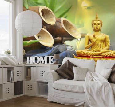 A beautiful golden Buddha meditating in front of a bamboo water feature. This Buddha wall mural is just what you've been looking for!