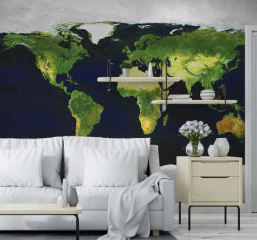 This world map photo mural is a superb addition to your home and is a decoration that keeps giving! Printed with a high definition image!