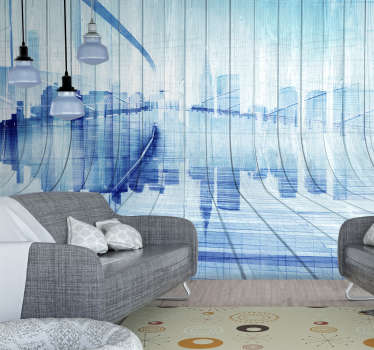 A stunning wood effect wall mural of a mock city skyline. Coloured in a shade of lovely blue to add a unique and exciting pop of colour