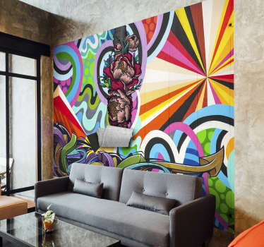Add an fun and lively splash of colour to your room with this graffiti urban art wall mural. Blues, yellows, greens, a whole load of colours