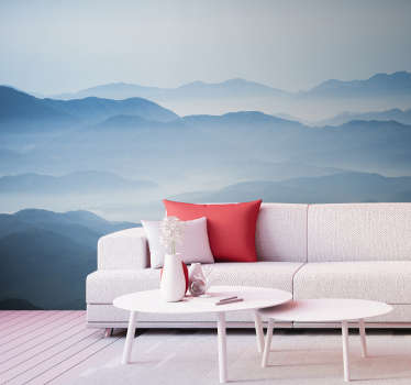 A mysterious yet gorgeous mountain wall mural for your home. You can just about see the peaks of each mountain in this beautiful design